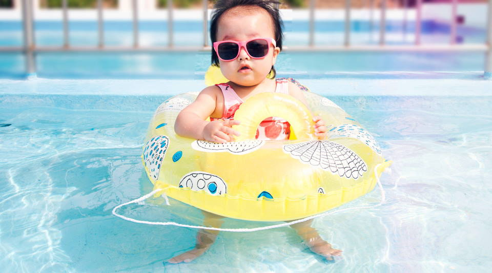 How can I protect my baby's skin from chlorine?